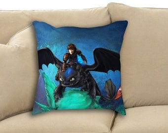 The Alpha Protects Them All - Hiccup and Toothless - How To Train Your Dragon 2 Stuffed Throw or Rectangle Pillow
