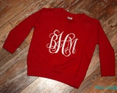 Toddler Monogram SweatShirt - Great for Valentine's Day - Red and White - Or Pick your colors