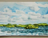 Key Largo, Florida landscape, original watercolor at John Pennecamp Coral Reef St. Park, blues, greens, ocean, clouds, islands