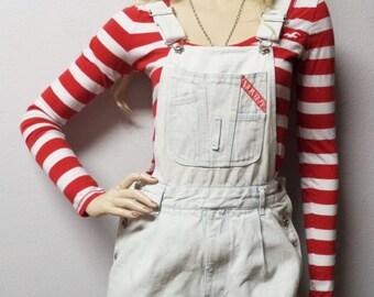 Vintage 90's light wash Wash Denim Overalls pants jumper jeans   - Waist 28 Sz Small