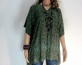 Olive Green Bali Batik Top Tunic Kaftan Caftan Poncho Dress Blouse Loungewear Summer Beach Cover Up Party Pregnant Plus Size 3X 4X 5X