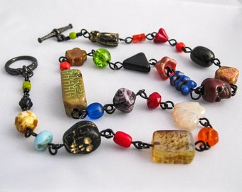 Halloween Candy Trick or Treat Necklace. Bad Candy. Chocolate Skulls. Licorice Black Cats