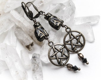 Black Cat and Pentagram Earrings. The Witch's Cats.