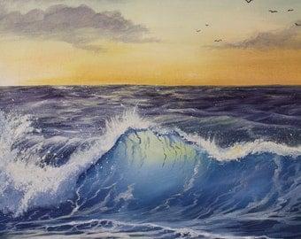 "Beach wave painting ""morning wave"" 20 x 16 original acrylic"