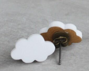 Cloud Studs - White Fluffy Cloud Post Earrings - laser cut earrings, cloud earrings, cloud posts, cloud studs, under 20, rainy day earrings