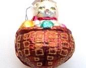 Christopher RADKO Happy Cat In A Basket Of Yarn Christmas Ornament