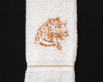 Jaguar Silhouette Embroidered bath hand towel. Jaguar decor, Jaguar bathroom, Jaguar Safari, Jaguar Hand Towel, Jaguar Present