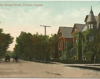 Antique Postcard St. George Street Toronto Canada Vintage Street Scene