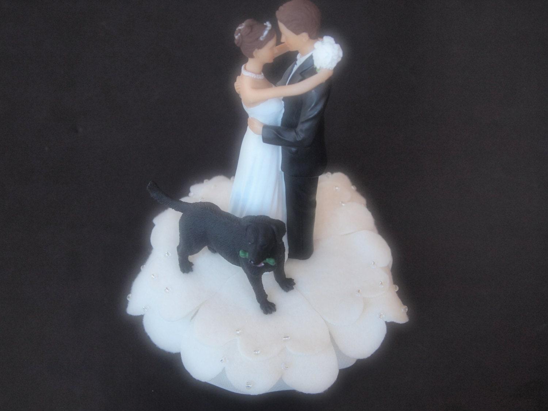 Cake Topper Wedding Ivory Bride Groom Black Lab Dog
