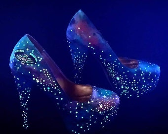 Constellations - Painted Glowing Galaxy Shoes