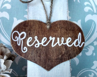 "Rustic ""Reserved""  Chair Signs- (set of 2) For your Rustic, Country, Woodland, Outdoor,  Wedding, Reception, Rehearsal Dinner, Etc."