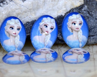 Oval Blue Frozen Elsa Handmade photo glass cabochon dome Beads 10x14mm13x18mm 18mmx25mm 30mmx40mm For Earring Brooch Ring Necklace Bracelet