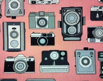Antique camera, soft orange, 1/2 yard, pure cotton fabric