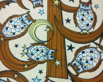 Owls in woods and the Moon, pale yellow, fat quarter, pure cotton fabric