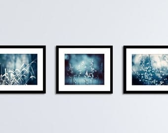 Navy Wall Art Set - dark blue photography three nature photos navy white botanical pictures branches artwork branch wall decor 11x14, 8x10