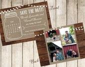 Mason Jar Save the Date with Photo-Calendar-Engagement Party-BBQ-Mason Jar Invitation-Casbury Lane