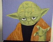 Miniature canvas depicting Yoda