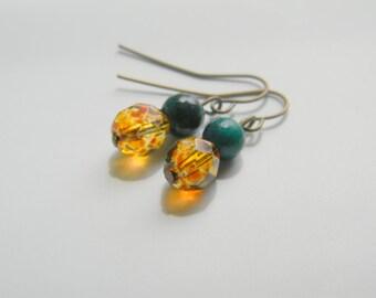 Jasper - Green jasper with fire polished glass beads dangle earrings,dangle earrings,earrings,earings,small earrings,boho earrings,boho chic