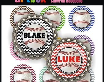 Editable Chevron Baseballs Bottle Cap Images - 4x6 Digital JPEG File Collage Sheet - BottleCap One Inch Circles for Badge Reels, Pendants