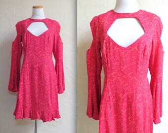 Shagadelic Groovy Vintage 60s Style Silk Peekaboo Cutouts Dress