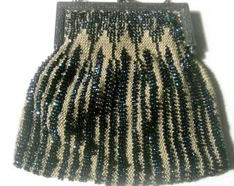 20's Vintage Dark Blue Bead Purse