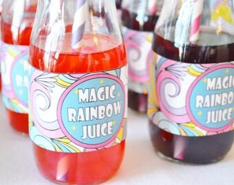Rainbow Unicorn party, rainbow art party, rainbow juice (instant download) drink wrapper