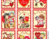 Digital Clipart, instant download, Valentines cards, tags for kids, cowgirls, horses, boots, Digital Collage Sheet (8.5 by 11 inches) 1944