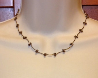 Vintage Antique Brass Choker Necklace 16 Inches Long Previously 18 Dollars ON SALE