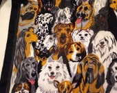 RuffRuff. A Parade of Pooches Decorate a Fashion Fun Long Silk Scarf