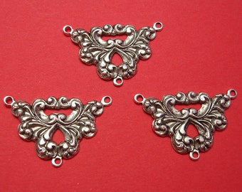 2-Art  Deco  3 Rings Antique Silver Ox  Silver Brass  Stamping Jewelry Ornament Connector .