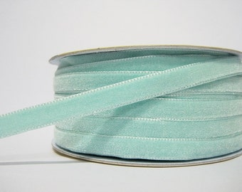 """5 yards 3/8"""" Mint Velvet Ribbon, Velvet Ribbon, Ribbon lot, Wholesale Ribbon, Mint Velvet trim, Mint ribbon, mint velvet trim, mint trim"""