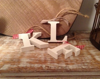 Hanging Wooden Letter Tag - Hand Painted - Any Initial - Christmas decorations - Gift Tag - various colours and finishes