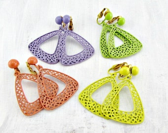 Vintage 80's Earrings, Purple Lime Yellow Orange Enamel Earrings, Filigree Triangle Earrings, Clip-On Drop Dangle Earrings, 1980s Jewelry