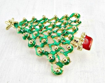 Vintage Christmas Tree Brooch Pin, Green Enamel Christmas Tree Brooch, 1980s Holiday Jewelry, Christmas Gift for Mom Grandma