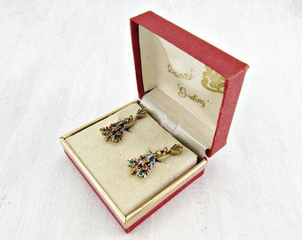Vintage Rhinestone Christmas Tree Earrings, Gold Clip-On Dangle Earrings, 1950s Jewelry, ORIGINAL Gift BOX, Christmas Gift for Mom Grandma