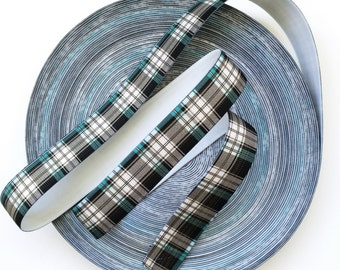 """1 1/2"""" Green and Black Check Stretch Elastic Band"""