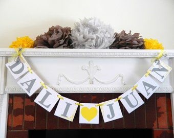 Yellow and Gray Bridal shower Decorations  - Wedding Decorations - Couples Shower Name Banner - Engagement Party Ideas -Custom Colors