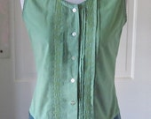 Embroidered Green Camisole Top, Hand Dyed Green Cotton Top, Pin Tucks, Vintage look,Embroidered Green Camisole Cotton Top, Layering Top