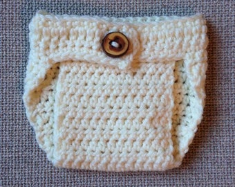 Crochet Diaper Cover (Newborn & 3-6 months) - knit, baby, boy, girl, photo, adjustable, button