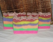 Spring Rain Scented Luxury Cold Process Rainbow Soap