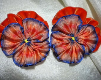 Fantasy Pansies Sets Of Two Millinery Ribbon Flowers