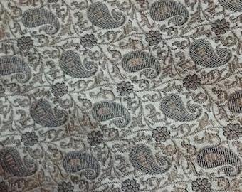 Half yard of Indian silk brocade in grey and black in a paisley design