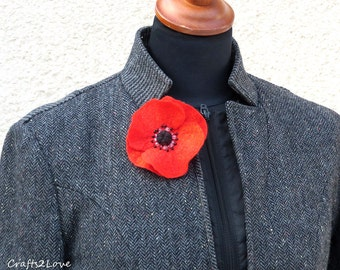 Small Red Poppy. Felted wool flower brooch pin corsage flower felt poppy, scarlet red and black. Remembrance Day poppy.