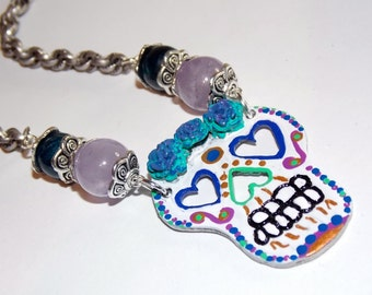 Amor Immortal Necklace and Earring Set - Hand-painted Sugar Skull in Blue, Teal and Purple