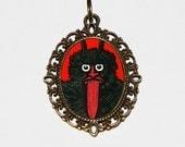 Krampus Necklace, Weird Christmas, Monster, Spooky, Odd, Horror Jewelry, Oddities, Oval Pendant