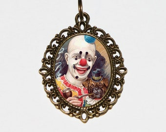 Clown Necklace, Smoking Dog, Clown Jewelry, Oval Pendant