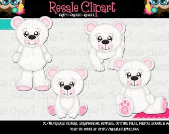 Polar Bear Cuties Pink Clipart (Digital Download)