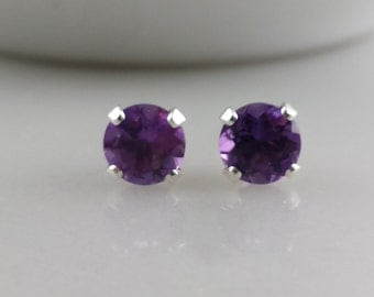 Sterling Silver Amethyst Gemstone Stud Earrings - February Birthstone Earrings- 5mm Amethyst Studs
