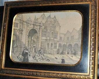 Original Antique Engraving of Flemish Royal Courtyard, B Altman & Co, Art, Wood Frame, Gilt Black Old European Cities 18th c