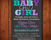 Purple and Teal Baby Shower Invitation